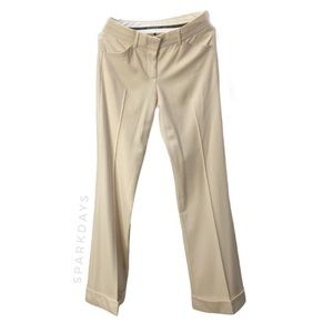 Theory Ivory Wool Straight Leg Work Pants | 0